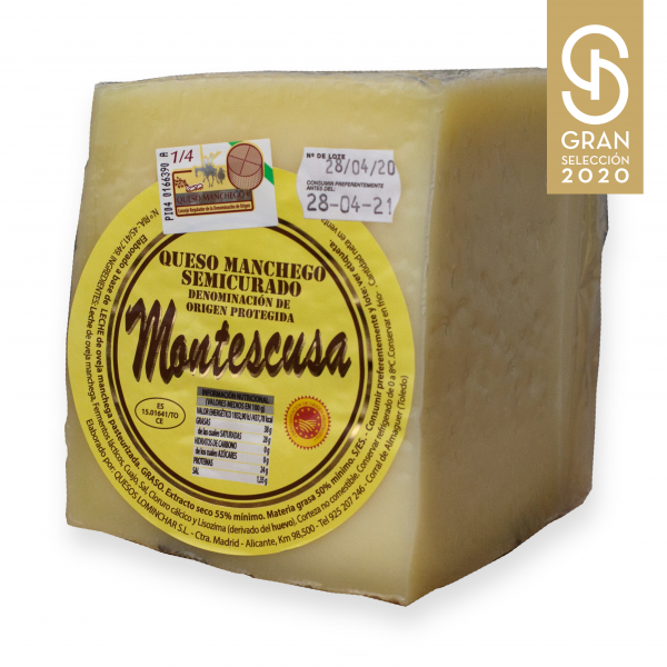 Quarter Manchego D.O.P. Cheese Montescusa Semicured